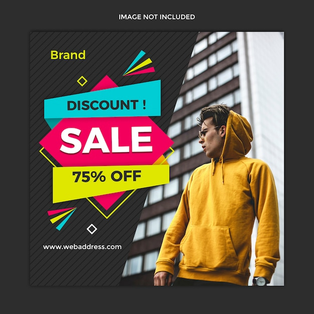 Insegna moderna di vendita e progettazione quadrata del modello della posta di instagram Psd Premium
