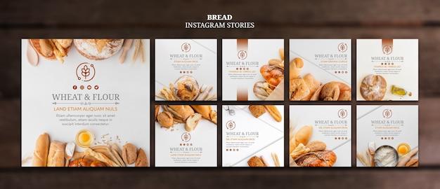 Instagram-berichten met tarwe en meelbrood Gratis Psd