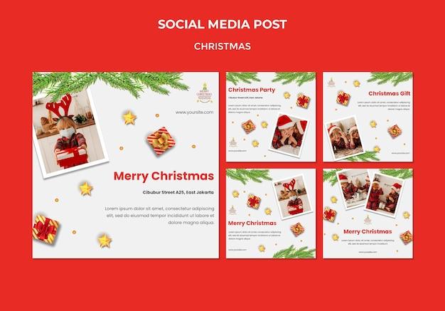 Instagram-berichtencollectie voor kerstfeest met kinderen in kerstmutsen Gratis Psd