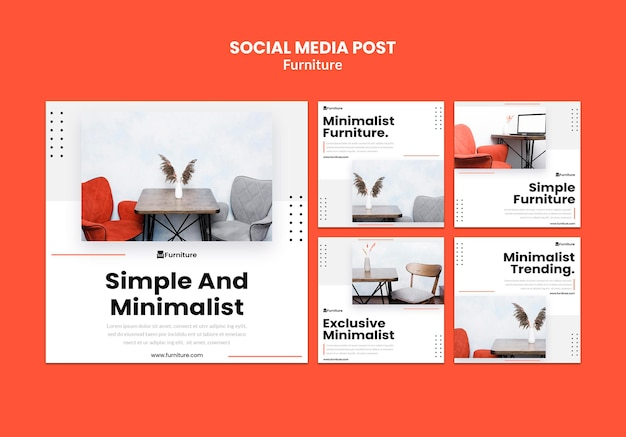 Instagram-berichtencollectie voor minimalistische meubelontwerpen Gratis Psd