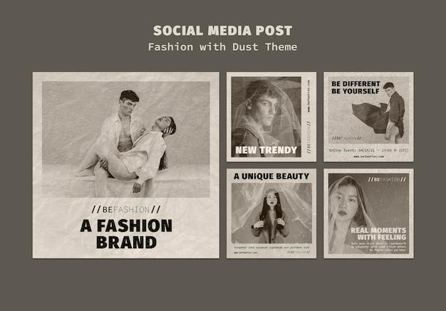 Instagram-berichtencollectie voor modewinkel Gratis Psd