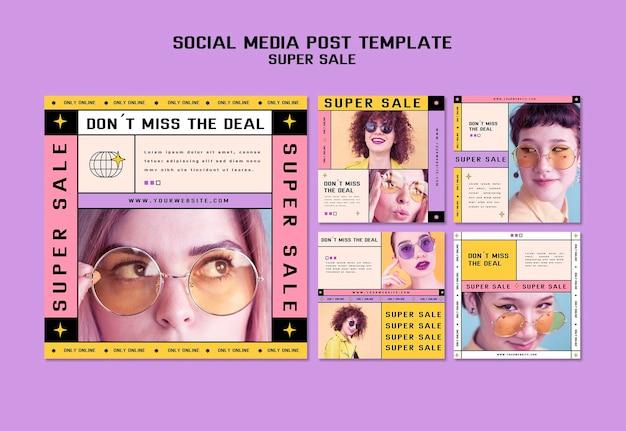 Instagram-berichtencollectie voor superverkoop van zonnebrillen Gratis Psd