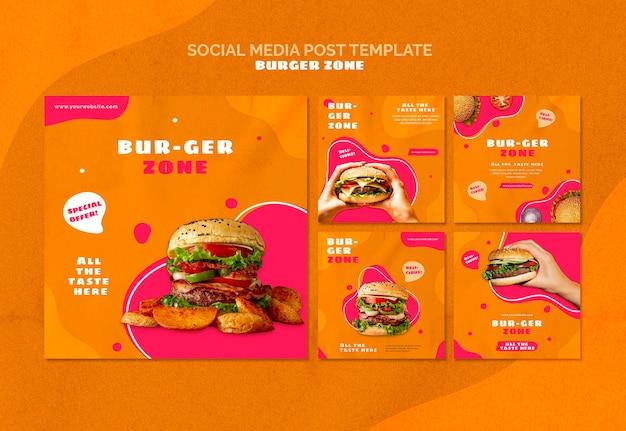 Instagram-berichtenverzameling voor burgerrestaurant Gratis Psd