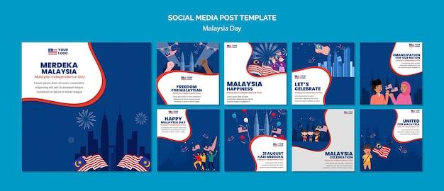 Instagram-berichtenverzameling voor de jubileumviering van de dag van maleisië Gratis Psd