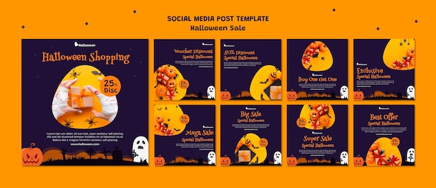 Instagram-berichtenverzameling voor halloween-uitverkoop Gratis Psd
