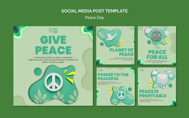 Instagram-berichtenverzameling voor internationale vredesdag Gratis Psd