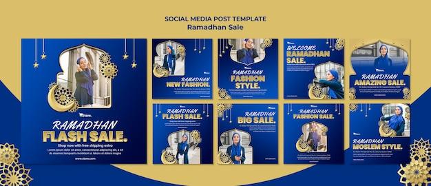Instagram-berichtenverzameling voor ramadan-uitverkoop Premium Psd