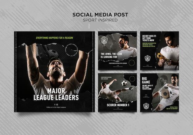 Instagram-berichtenverzameling voor voetbalclub Gratis Psd