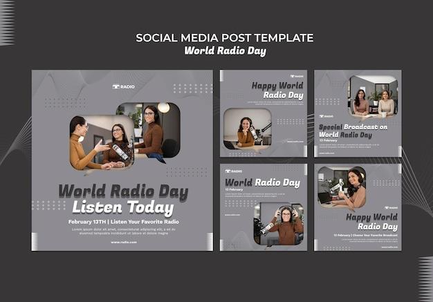 Instagram-berichtenverzameling voor wereldradiodag met vrouwelijke omroep Gratis Psd