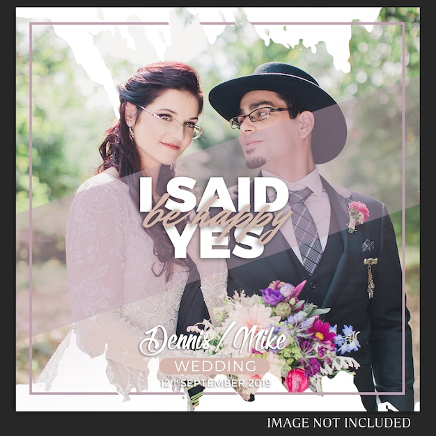 Instagram bruiloft berichtsjabloon Premium Psd