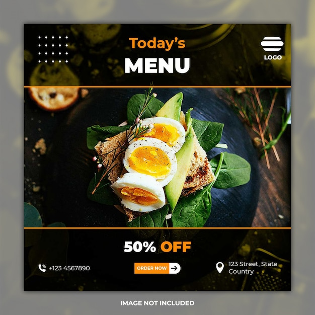 Instagram feed culinaire banner Premium Psd