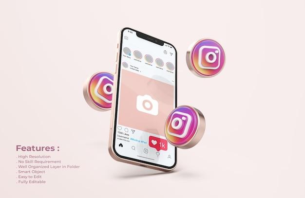 Instagram en maqueta de teléfono móvil de oro rosa PSD gratuito