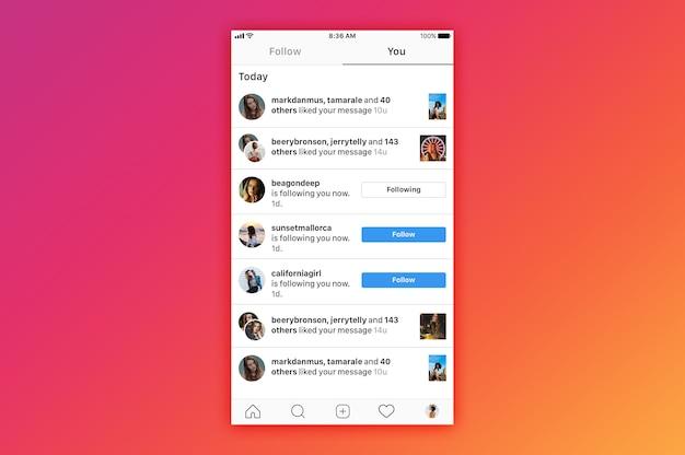 Instagram notifica mockup Psd Premium