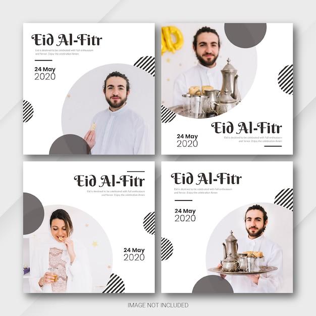 Instagram post banner bundel eid al fitr mubarak-sjabloon Premium Psd