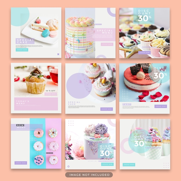 Instagram post dessert en cake template collection premium psd Premium Psd