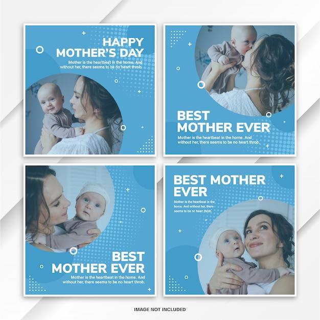 Instagram postbundel wereld moederdag sjabloon Premium Psd