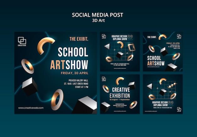 Instagram posts collectie voor kunsttentoonstelling met creatieve driedimensionale vormen Gratis Psd