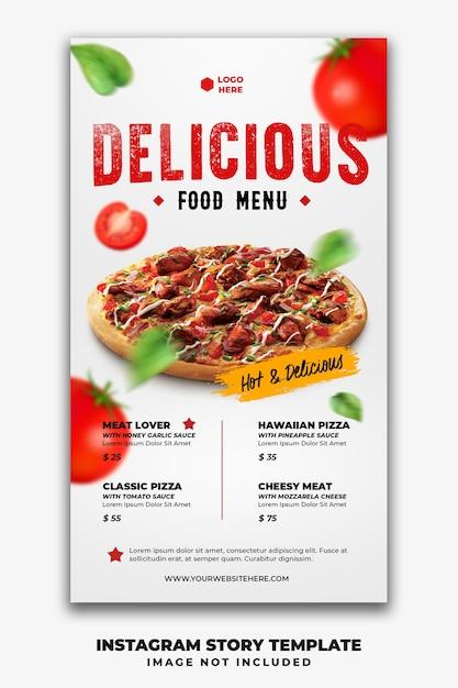 Instagram postverhalen banner sjabloon voor restaurant fastfood menu pizza Premium Psd