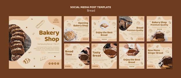 Instagram postverzameling voor bakkerijwinkel Gratis Psd
