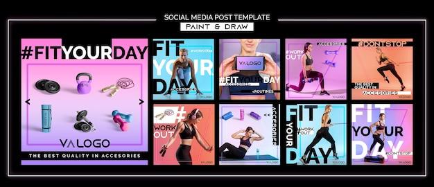 Instagram postverzameling voor fitnesstraining Premium Psd