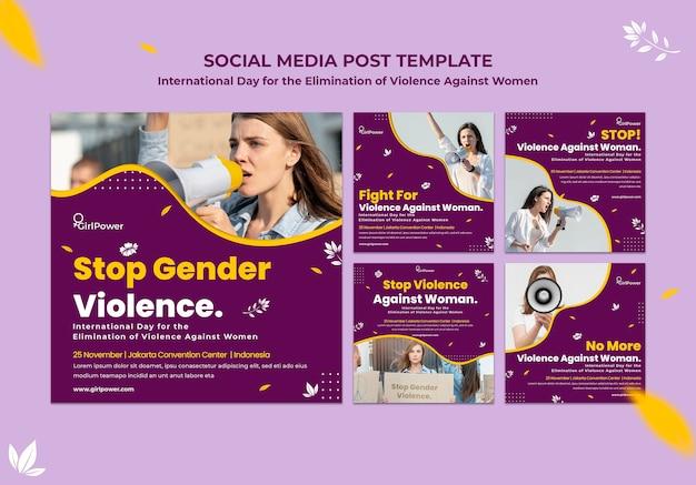 Instagram-postverzameling voor het uitbannen van geweld tegen vrouwen Gratis Psd