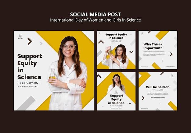 Instagram-postverzameling voor internationale vrouwen en meisjes op wetenschapsdag Gratis Psd
