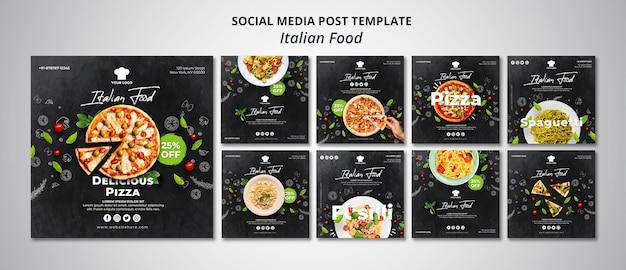 Instagram postverzameling voor traditioneel italiaans eten restaurant Gratis Psd
