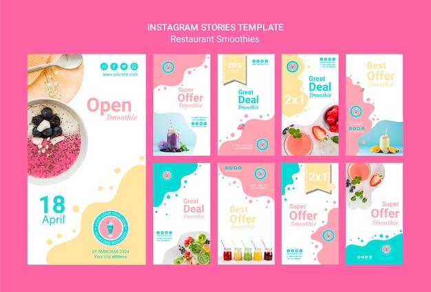 Instagram smoothie verhalen ingesteld sjabloon Gratis Psd