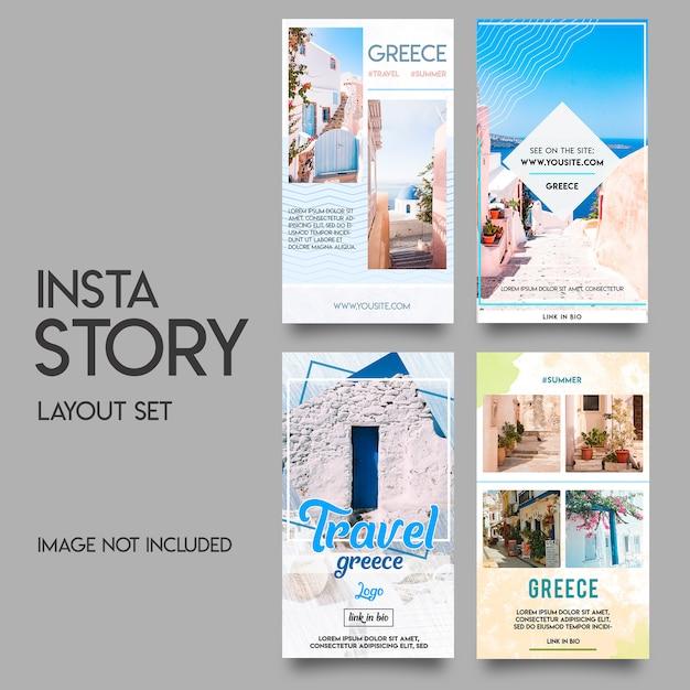Instagram stories template set estivo Psd Premium