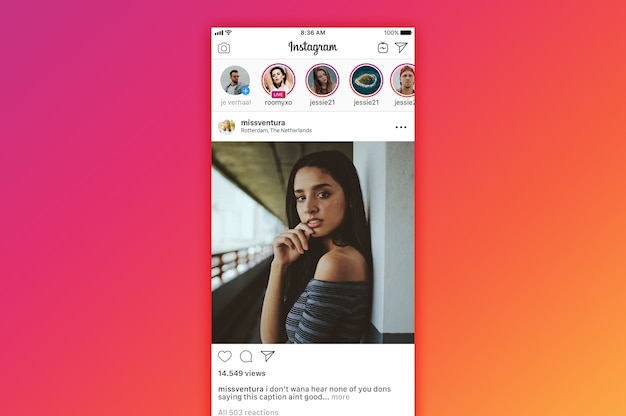 Instagram tijdlijn mockup Premium Psd