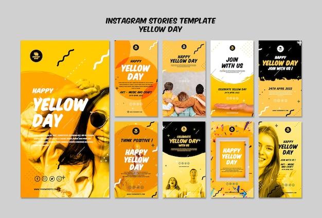 Instagram-verhalen met gele dagsjabloon Gratis Psd