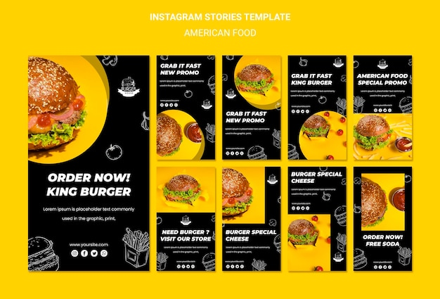 Instagram-verhalen over amerikaans eten Gratis Psd