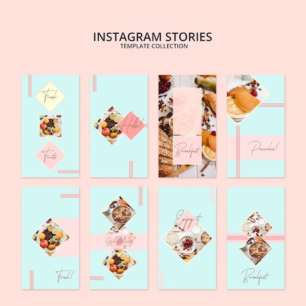Instagram verhalen sjabloon collectie met ontbijt concept Gratis Psd