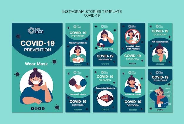 Instagram verhalen sjabloon met covid 19 Gratis Psd