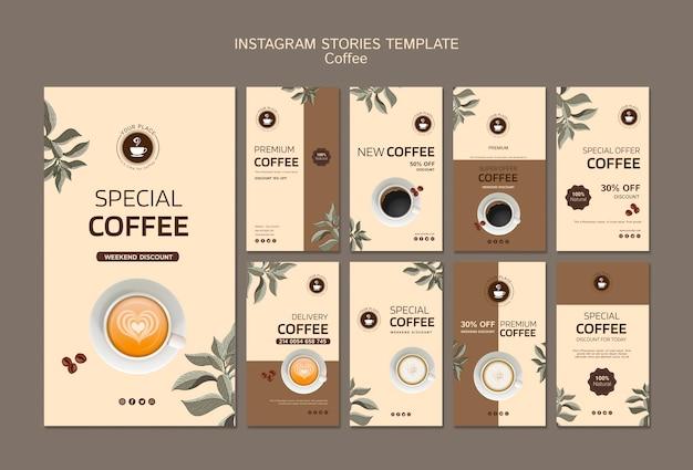 Instagram verhalen sjabloon met koffie Gratis Psd