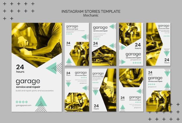 Instagram verhalen sjabloon met monteur Gratis Psd