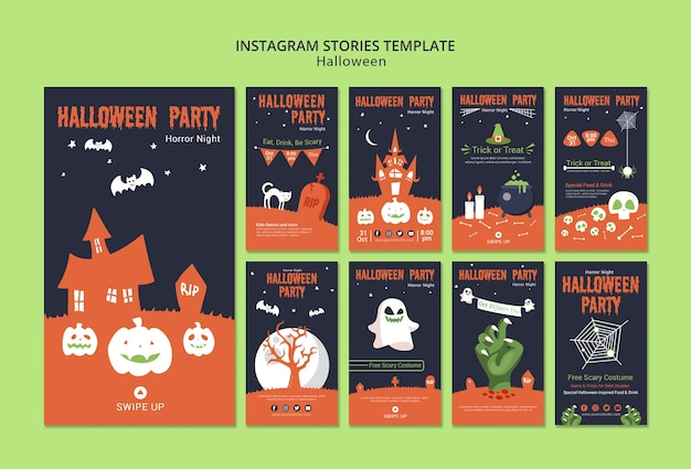 Instagram verhalen sjabloon voor halloween Gratis Psd