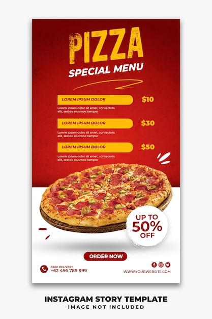 Instagram verhalen sjabloon voor spandoek voor restaurant fastfood menu pizza Premium Psd