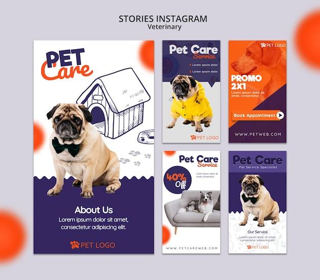 Instagram verhalencollectie voor dierenverzorging Gratis Psd