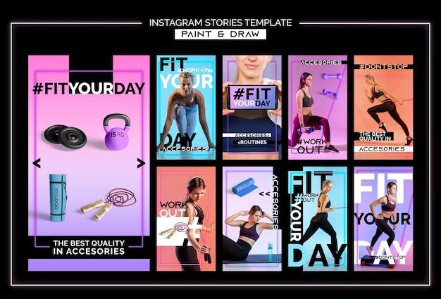 Instagram verhalencollectie voor fitnesstraining Premium Psd