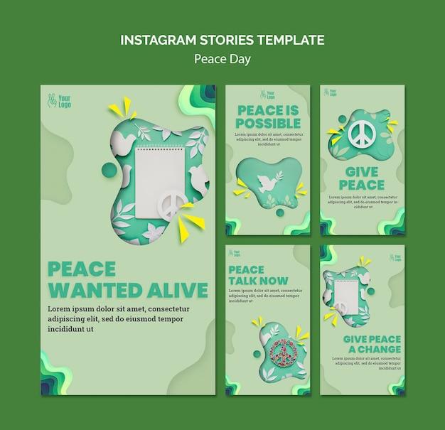 Instagram-verhalencollectie voor internationale vredesdag Gratis Psd