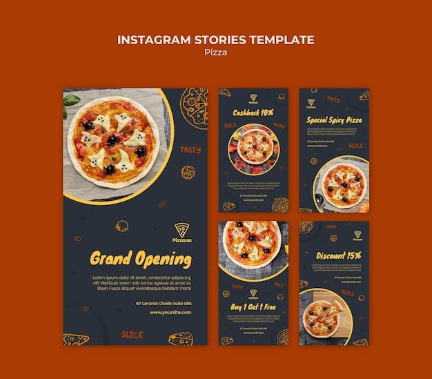 Instagram-verhalencollectie voor pizzarestaurant Premium Psd