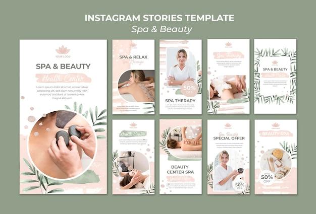 Instagram-verhalencollectie voor spa en therapie Premium Psd