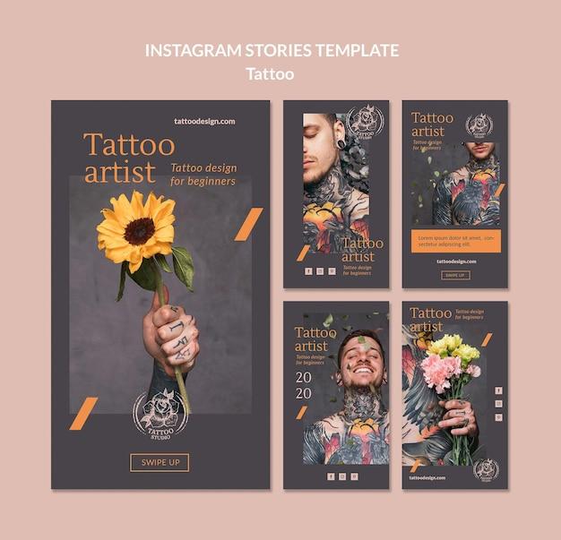 Instagram-verhalencollectie voor tattoo-artiest Gratis Psd