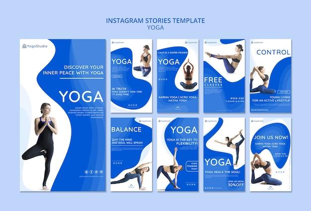 Instagram verhalencollectie voor yoga fitness Gratis Psd