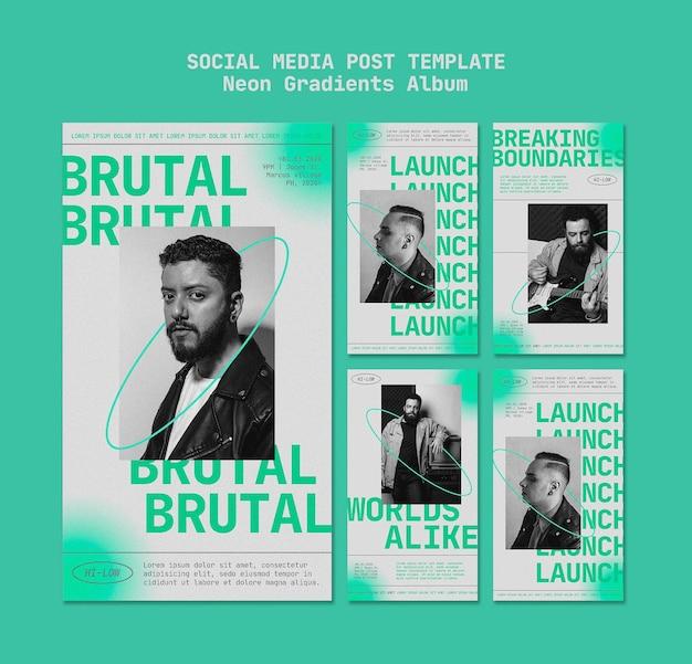 Instagram-verhalenpakket voor mannelijke muzikant met neonverlopen Gratis Psd