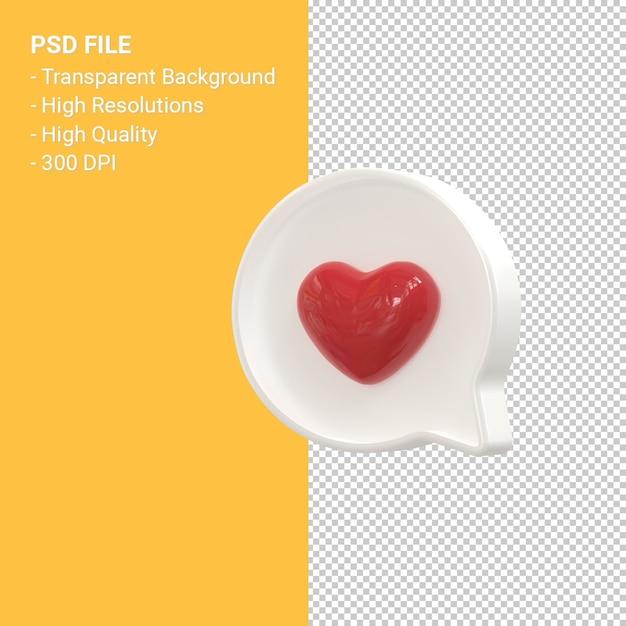 Instagram zoals 3d-pictogram of facebook love emoji-meldingen 3d-rendering geïsoleerd Premium Psd
