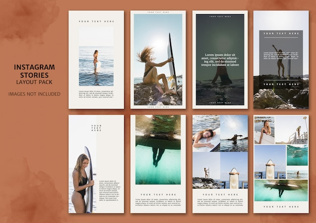 Instagramverhalen lay-outpakket Gratis Psd