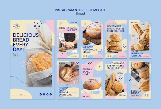 Instagramverhalen met brood Gratis Psd