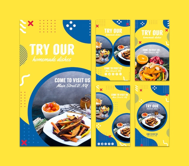 Instagramverhalenmalplaatje voor restaurant in de stijl van memphis Gratis Psd
